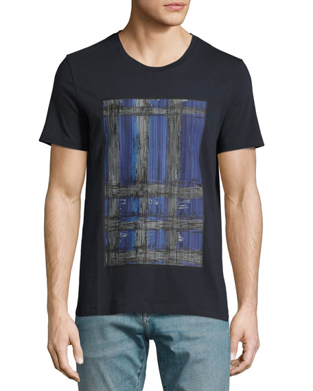 Acoustic Check-Graphic T-Shirt, Blue