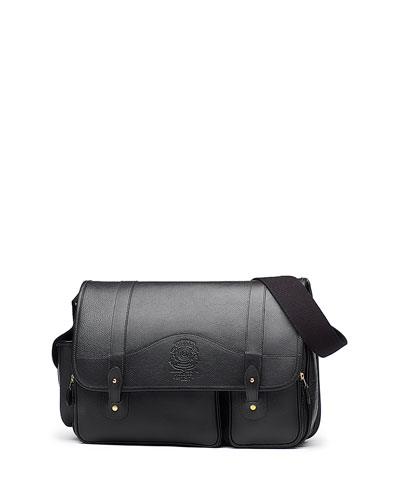 Fielding No. 137 Leather Messenger Bag, Vintage Black