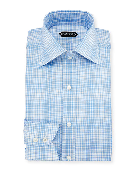 Slim-Fit Twill Plaid Bicolor Dress Shirt, Blue