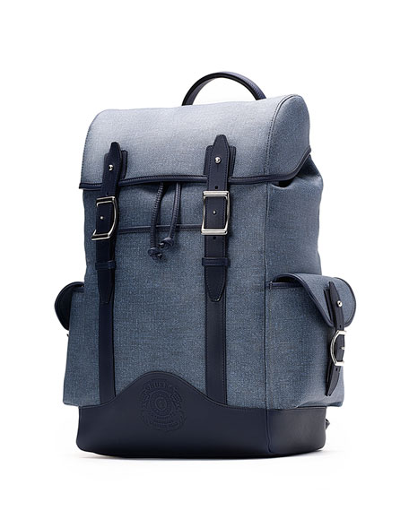 Ghurka Explorer No. 239 Leather Backpack, Blue