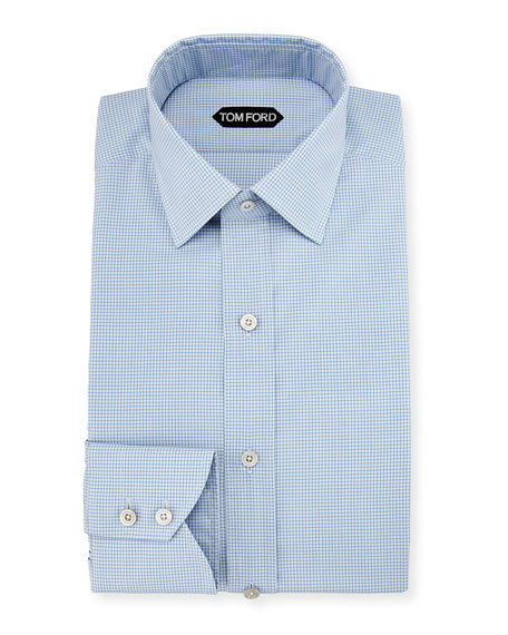 Slim-Fit Micro-Check Barrel-Cuff Dress Shirt, Blue