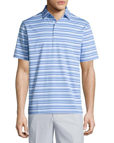 Vista Cay Striped Performance Polo Shirt, Cascade Blue