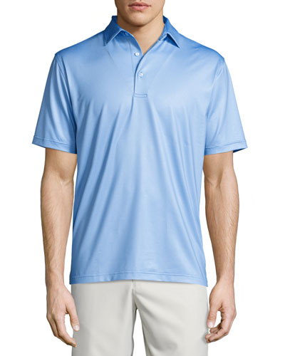 International Print Performance Polo Shirt, Cascade Blue
