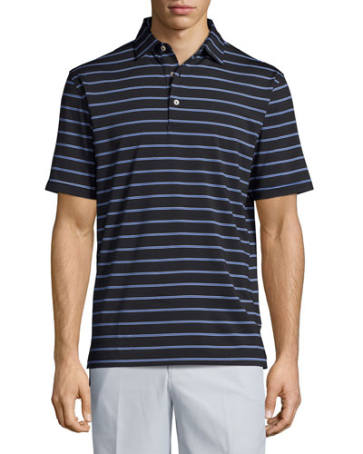 Tradeshow Striped Performance Polo Shirt, Black