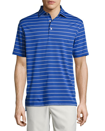 Tradeshow Striped Performance Polo Shirt, York Blue