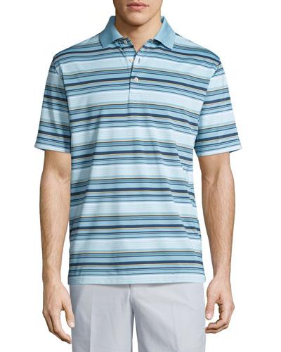 Plaza Striped Polo Shirt, Teal