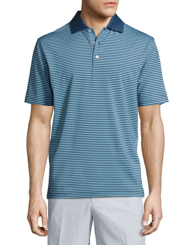 Competition Striped Performance Polo Shirt, Midnight/Glacier