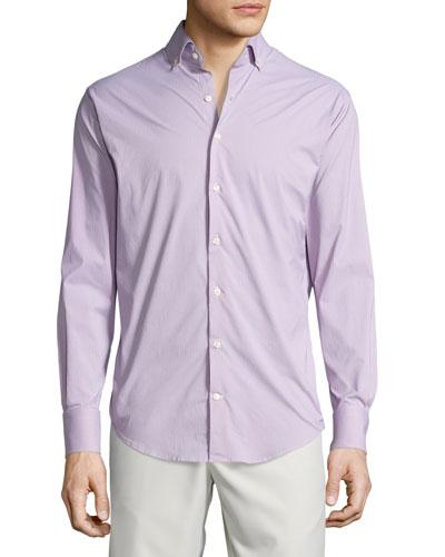 Statler Check Performance Sport Shirt, Bermuda Pink
