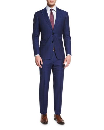 G-Line Textured Windowpane Wool Suit, Navy