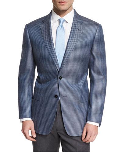 G-Line Small Box-Check Sport Coat, Light Blue