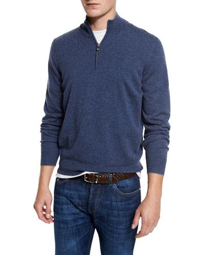 Cashmere Quarter-Zip Pullover Sweater, Indigo