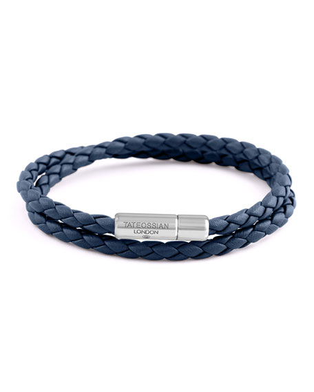 Tateossian Men's Braided Leather Double-Wrap Bracelet, Size M,
