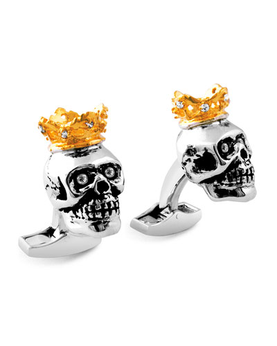 King Skull Cuff Links w/Golden Plating