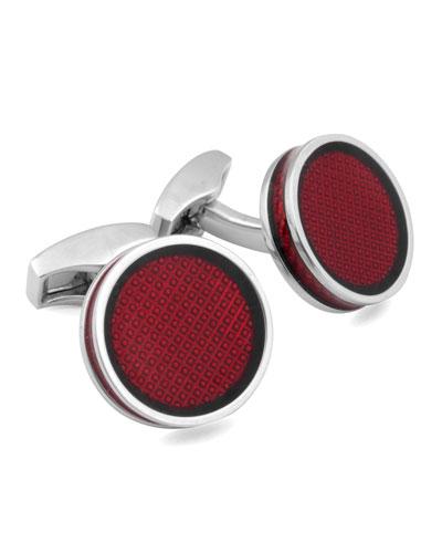 Rhodium & Red Diamond-Pattern Enamel Cuff Links