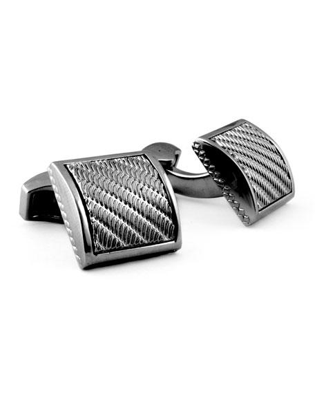 Gunmetal Wave Square Cuff Links