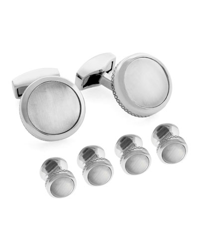 Rhodium-Plated Fiber Optic Glass Cuff Links & Stud Set