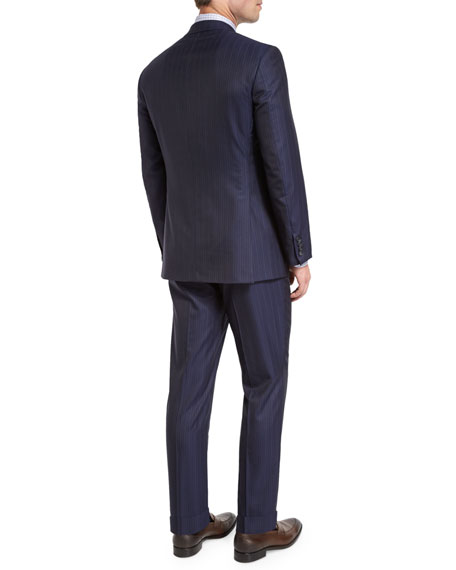 Multi-Stripe Super 150s Wool Two-Piece Suit, Navy