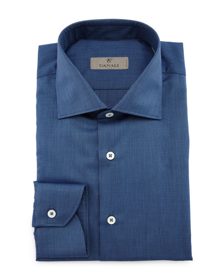 Canali Textured Solid Long-Sleeve Sport Shirt, Indigo