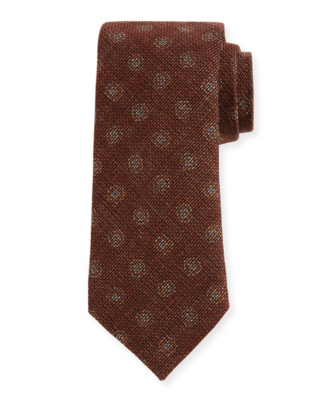 Canali Large Dot-Print Woven Tie, Rust