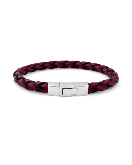 Men's Braided Leather Silver Bracelet