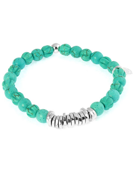 Tateossian Mens Semiprecious Beaded Disc Bracelet, Turquoise, Large