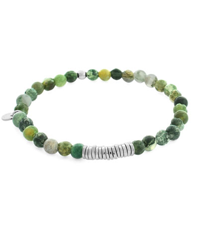 Men's Round Moss Agate Beaded Bracelet