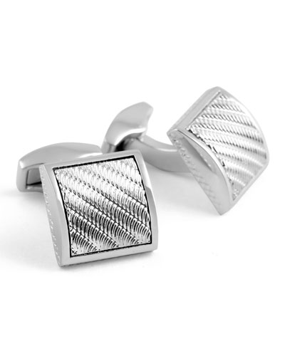 Wave Rhodium-Dipped Engraved Cuff Links