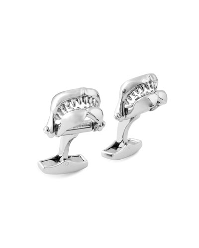 Sterling Shark Jaw Cuff Links