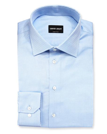 Giorgio Armani Textured Solid Long-Sleeve Dress Shirt, Light