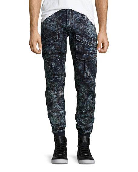 PRPS Bleached Astronaut Denim Jogger Pants, Dark Indigo