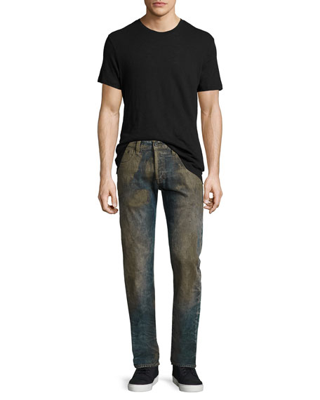Extracting Distressed Slim-Straight Jeans, Indigo