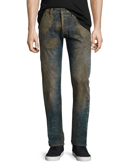 PRPS Extracting Distressed Slim-Straight Jeans, Indigo