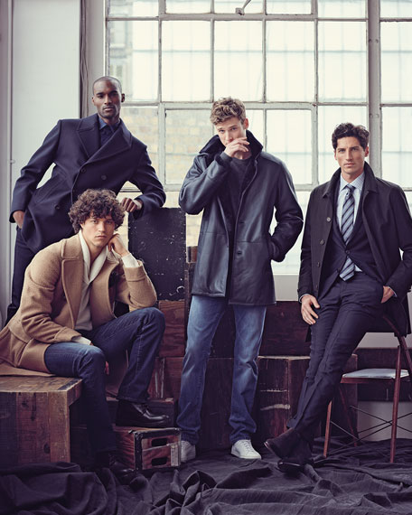 Double-Breasted Wool-Blend Pea Coat, Navy