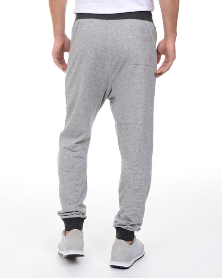 French Terry Drop-Inseam Sweatpants, Light Gray