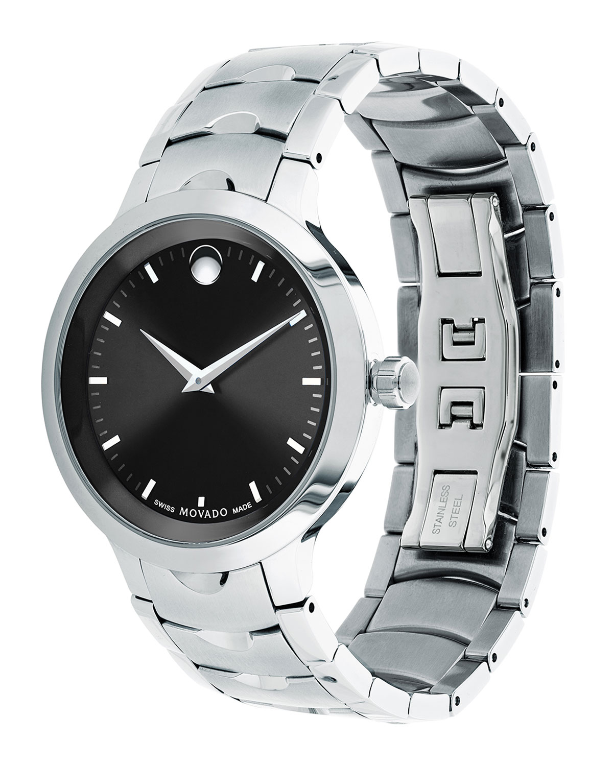 watch steel watches luno movado dial i s quartz black silver authentic men