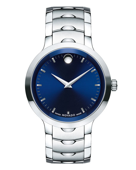 Movado 40mm Luno Sport Stainless Steel Watch, Blue/Silver