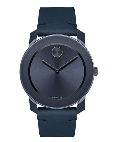 42mm Bold Watch with Leather Strap, Navy