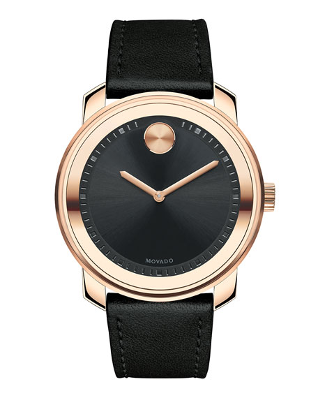 Movado 42.5mm Bold Watch with Leather Strap, Black
