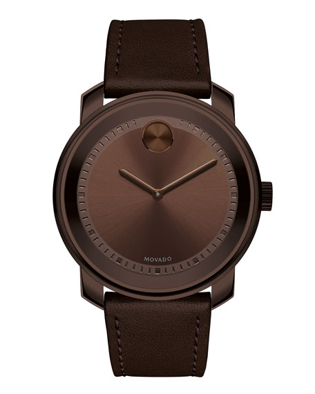Movado 42.5mm Bold Watch with Leather Strap, Chocolate