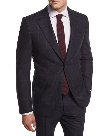 Wool Windowpane Two-Piece Suit, Navy