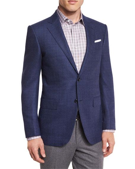 Ermenegildo Zegna Tic Wool Two-Button Sport Coat, Navy