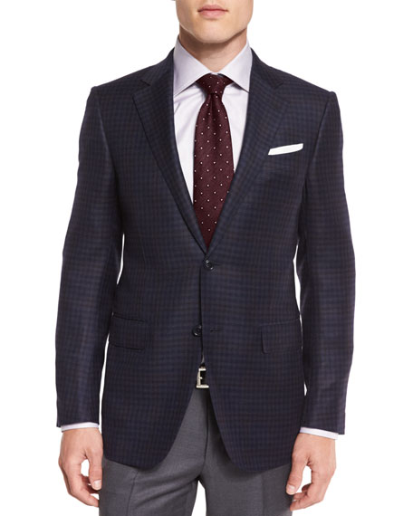 Check Two-Button Sport Coat, Navy/Charcoal