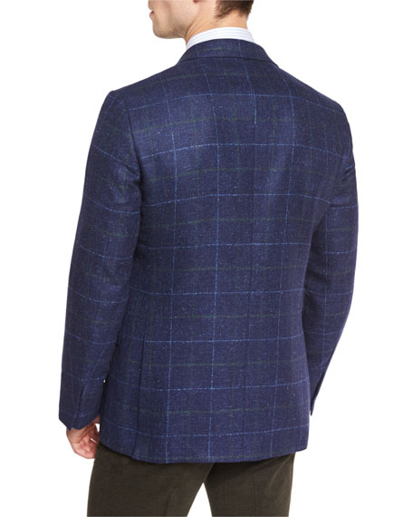Windowpane Two-Button Sport Coat, Navy/Green