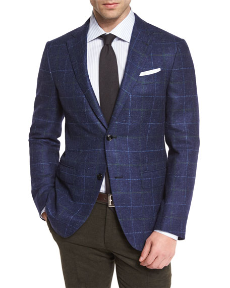 Ermenegildo Zegna Windowpane Two-Button Sport Coat, Navy/Green