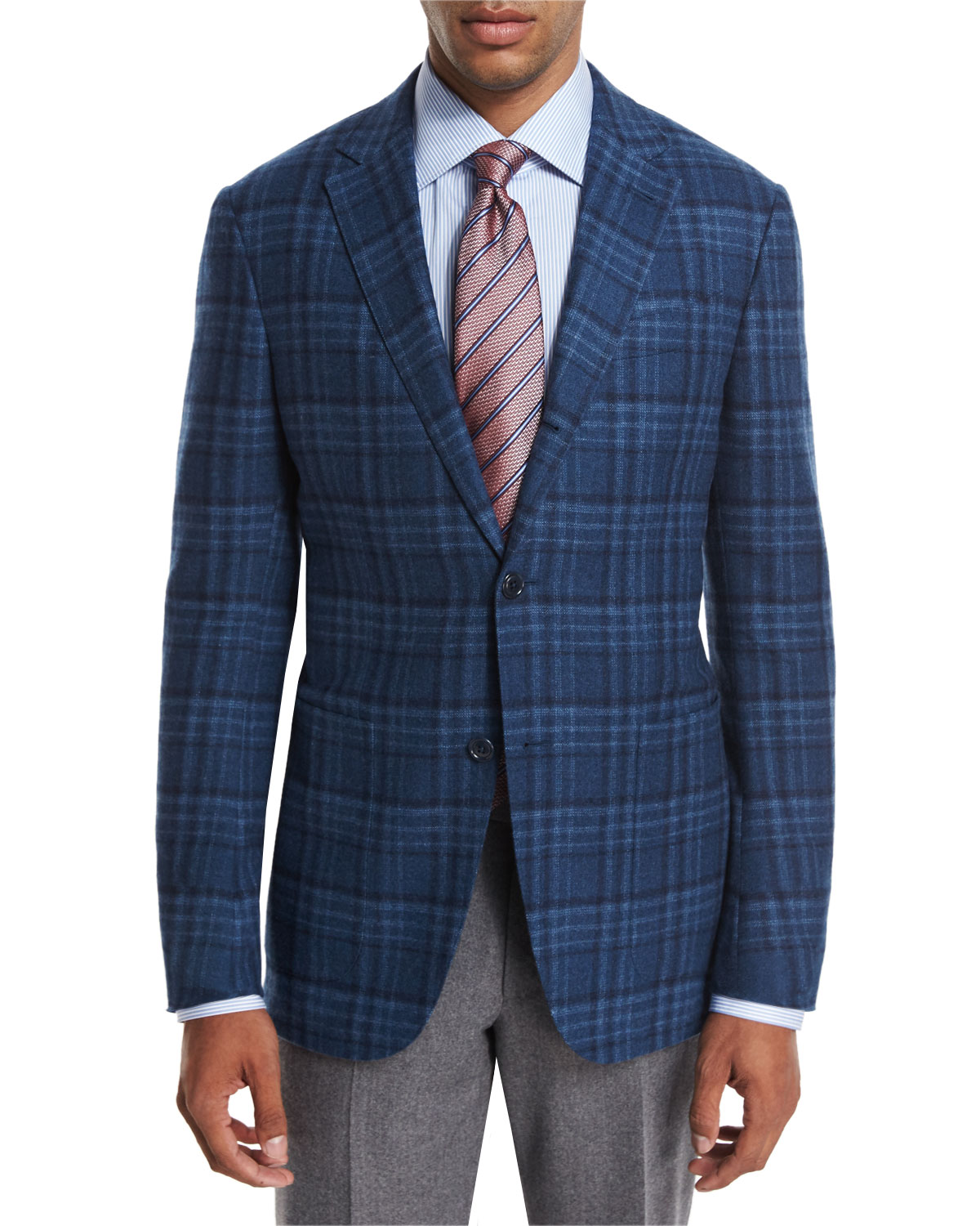 Ermenegildo Zegna Plaid Wool Cashmere Sport Coat Teal