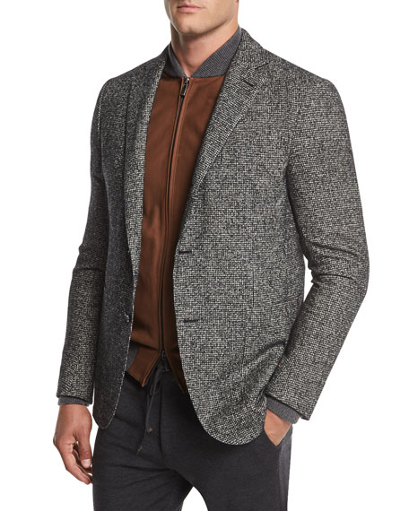 Check Wool-Blend Two-Button Blazer