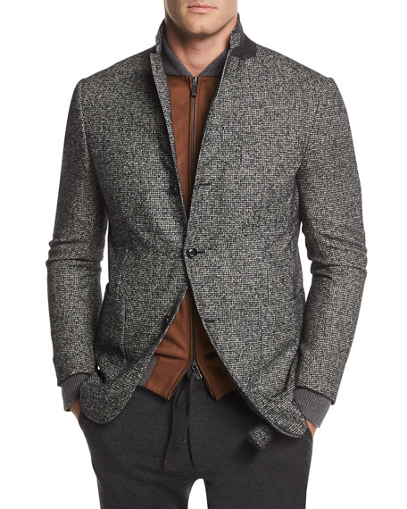 Ermenegildo Zegna Check Wool-Blend Two-Button Blazer