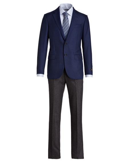 Solid Cashmere Two-Button Blazer, Blue