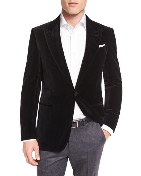 Tic Velvet Single-Button Sport Coat, Dark Navy