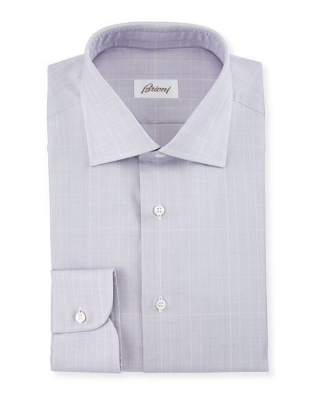 Prince of Wales Woven Dress Shirt, Dusty Lavender
